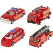Magideal 4pcs 1:64 Diecast Fire Engine Trucks Cars Toys