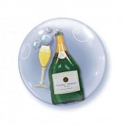 "Balon Double Bubble 24""/61cm Qualatex, Sticla si Pahar de Sampanie, 68810"