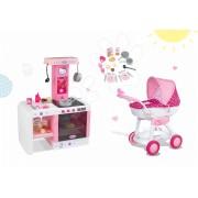 Szett gyerek babakocsi játékbabának Hello Kitty Smoby és játékkonyha Hello Kitty Cheftronic hangeffektekkel 18 hó-tól