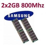 Samsung - Kit Barette mémoire 2 x 2 Go 4 Go Dual Channel Kit = 240 broches DDR2-800 DIMM (800 MHz, PC2-6400) M378T5663QZ3-CF7 DDR2 double face für Computersysteme