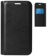 Ascari Original Full Artifical Leather flip with Name Printed of the Company flip cover for Lava A67 Black
