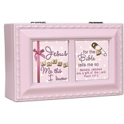 Jesus Loves Me Girl Cottage Garden Soft Pink Finish Petite Jewelry Music Box - Plays Song Jesus Love