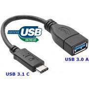 NTR CAB101 USB 3.1 C dugó - USB 3.0 A aljzat OTG adatkábel - fekete