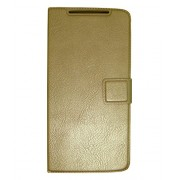 Zocardo Premium Faux Leather Flip case cover for Lava A76 Plus - Gold - with Stand , Magnetic Lock