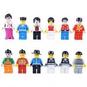Katara - Set di 12 Minifigures Compatibili con Classic Lego/ Q-Briques/ Asmodee/ Sluban, per Giochi di Costruzione, Simpatici Personaggi di Professioni Diversi-Poliziotto, Vigile del Fuoco Ecc
