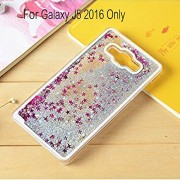 KC Flowing Liquid Bling Glitter Star Case Transparent Hard Back Cover for Samsung Galaxy J5 2016 - Silver Colour