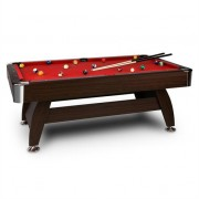 oneConcept Leeds Billiard Table 8' (122 x 79 x 244 cm) Queues Ball Set Red