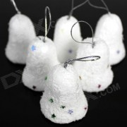 Snow Bell Christmas Decoration for Christmas Tree - White + Red + Blue + Silver + Yellow (6 PCS)
