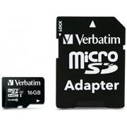 Card de memorie Verbatim 44082, microSDHC, 16 GB, Clasa 10 + Adaptor SD