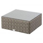 Hespéride Table basse carrée Libertad Sépia Jardin 72 x 72 x 30 cm - Aluminium Résine tressée, Verre Trempé