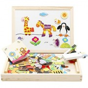 Lewo Wooden Educational Toys Magnetic Art Easel Animals Puzzle Games for Kids