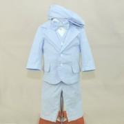 Soffi Baby Compleu Botez baietei compus din 6 piese albastru deschis