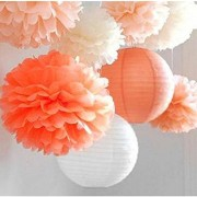 SUNBEAUTY Pack of 8 3 Colors Tissue Paper Flowers Tissue Paper Pom Poms, Wedding Decor, Pom Poms Flowers, Paper Lantern, Pom Poms Craft,Party Decoration (Orange-1)