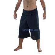 Black Pinstripe Fisherman Pants Capri Yoga Shorts Real Cotton