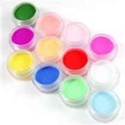 pudra acrilica colorata pentru unghii set 12