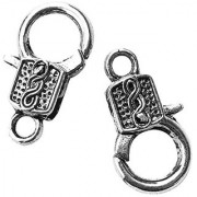 Jewelry Basics Metal Findings-Deco Lobster Clasp Silver 2/Pkg