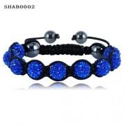 9 kristály gömbös shamballa karkötő - sötét kék