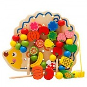 Magideal Wooden Toy Baby Gift Creat Hedgehog Fruit String Of Beads Wood Beading Game
