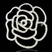 Bridal Swarovski Crystal Cutout Rose Floral Bouquet Hair Brooch