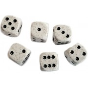 Custom & Unique {Standard Medium 16mm} 6 Ct Pack Set Of 6 Sided [D6] Square Cube Shape Playing & Game Dice W/ Rounded Corner Edges W/ Splatter Marble Stone Two Tone Design [White, Gray & Black]