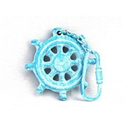 "Light Blue Whitewashed Cast Iron Ship Wheel Key Chain 5"" - The Ships Wheel Keyc"