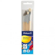 Pelikan - 718163 - Set De Pinceaux Pour Débutant - 3 pinceaux à poils fins : tailles 2, 4 et 6 - 2 pinceaux brosse n°613F : tailles 6 et 10