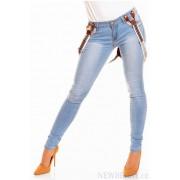 Stylové džíny s kšandami světle modré
