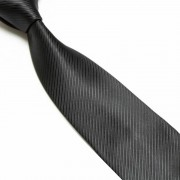 """Black Thin Striped Microfibre Tie"""