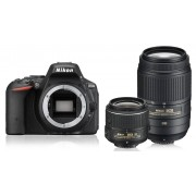 Nikon d5500 + 18-55mm vr ii + 55-300mm vr - nero - manuale in italiano