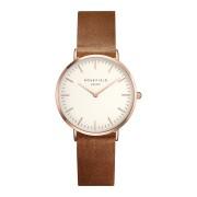 Rosefield The Tribeca White Brown Rose Gold horloge TWBRR-T55
