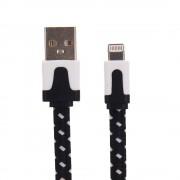 Nylon Lightning naar USB kabel - 200 cm - Zwart / Wit