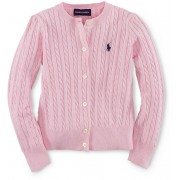 Ralph Lauren Cable-Knit Cotton Cardigan Pink/Navy