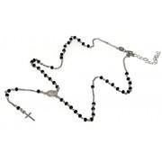 Collana Rosario uomo Argento 925 Con cristallo nero croce e madonna ovale 45+5 cm