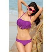 OEM Dámské plavky dvoudílné bikiny CRISSCROSS zdobené třásněmi na podprsence fialové - M, fialová