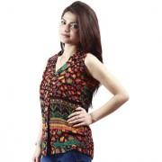 Multicolor Cut Away Collar Sleeveless Tshirts For Women