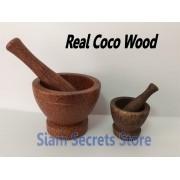 Thai Pestle and Mortar Food grinding & Mashing 2 sizes Beautiful Coco Wood