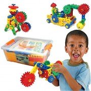 Educational Toys Ultimate Blocks Gears by ETI Toys for Boys and Girls 88 Piece Set for Building Endless Creations with Gears Interlocking Blocks Screws and Much More Build Your Imagination Today