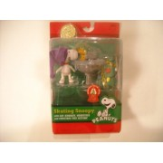 Peanuts Skating Snoopy Figure With Woodstock, Birdbath, And Christmas Tree Section By Forever Fun