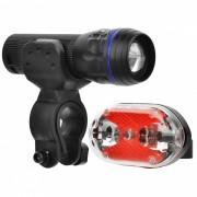 5-LED 7-Mode LED rojo de la cola-1 Light + 3-Modo blanco zoom luz de la bici