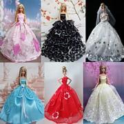Princesa Vestidos Para Barbie Doll Vermelho / Branco / Preto / Rosa / Azul