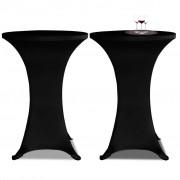 vidaXL Еластични покривки за бар маси, диаметър 60 см, черни – 2 броя
