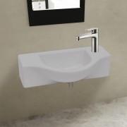 vidaXL Keramické koupelnové umyvadlo s otvorem na baterii, bílé