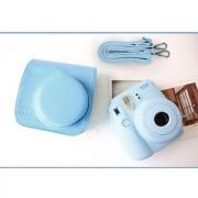 PU Leather Camera Bag Shoulder Strap for Fuji Fujifilm Instax Mini8 Blue