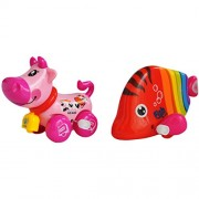 Trinkets & More - Animal Themed Wind Up Toys Cute Fish and Cow (Set of 2) Fun Toys for Kids 12+ Months (Random Colours)