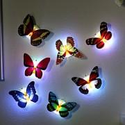 7 cores mudando borboleta levou noite luz lâmpada