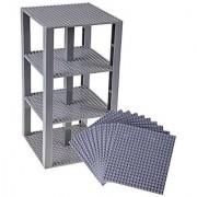 Premium Gray Stackable Base Plates - 10 Pack 6 x 6 Baseplate Bundle with 80 Gray Bonus Building Bricks (LEGO Compatibl