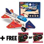 Wooden Jet Plane Decorate-Your-Own Kit + FREE Melissa & Doug Scratch Art Mini-Pad Bundle [33398]