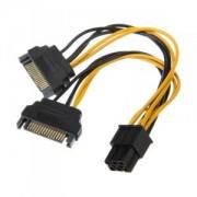 Cablu adaptor Akasa de la 2x SATA la 1x 6 pini PCIe, 15 cm, AK-CBPW13-15