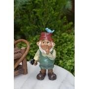 Miniature Dollhouse FAIRY GARDEN Accessories ~ Gardener Gnome with Bird ~ NEW