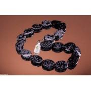 Colier obsidian de 45cm, mărgele ondulate si ovale 18x25mm